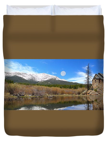 Moon Over St. Malo Duvet Cover