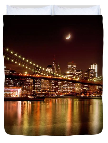 Moon Over The Brooklyn Bridge Duvet Cover by Mitchell R Grosky