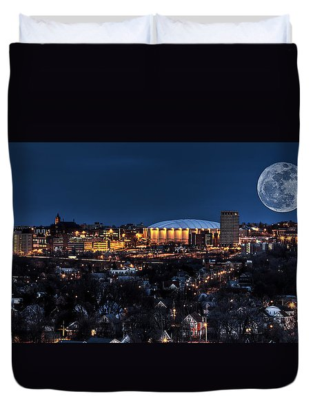 Moon Over The Carrier Dome Duvet Cover