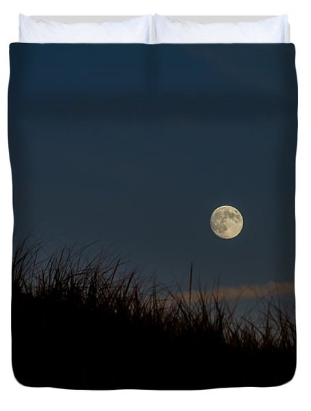 Moon Over The Dunes Duvet Cover by Brian Caldwell