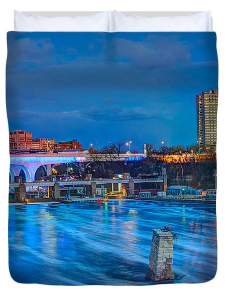 Moon Over The Mississippi Duvet Cover by Amanda Stadther
