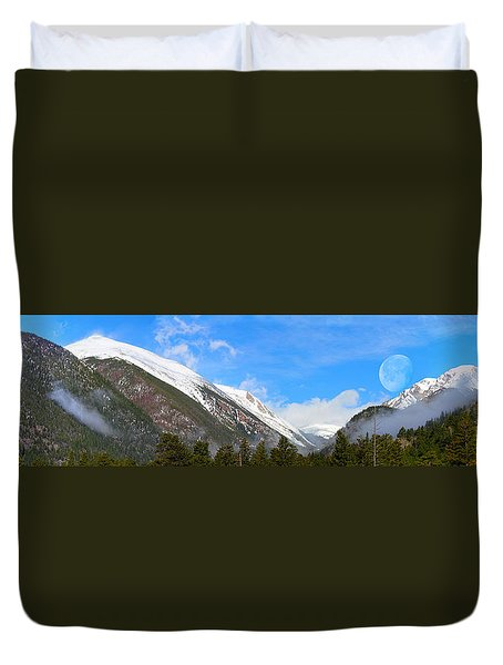 Moon Over The Rockies Duvet Cover