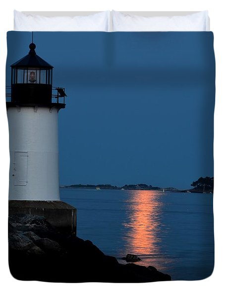 Moon Over Winter Island Salem Ma Duvet Cover