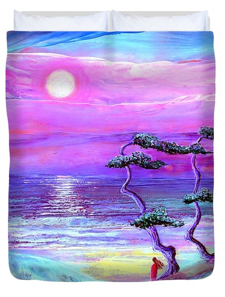 Moon Pathway,seascape Duvet Cover