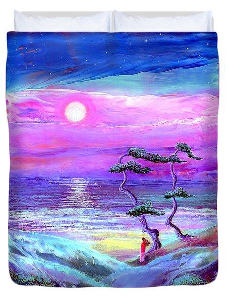 Moon Pathway,seascape Duvet Cover