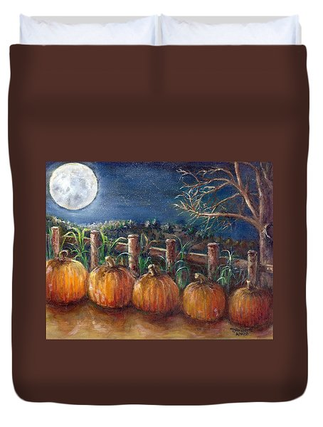 Moon Pumpkin Harvest Duvet Cover by Bernadette Krupa
