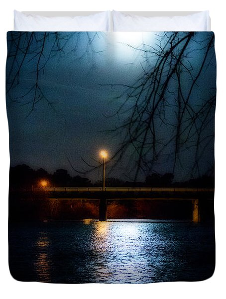 Duvet Cover featuring the photograph Moon Set Lake Pleasurehouse by Angela DeFrias