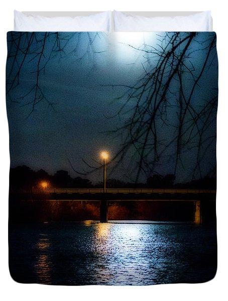 Moon Set Lake Pleasurehouse Duvet Cover by Angela DeFrias