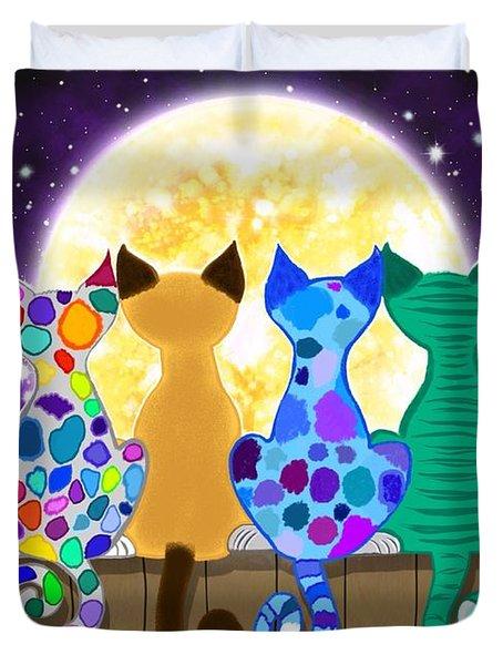Moon Shadow Meow Duvet Cover