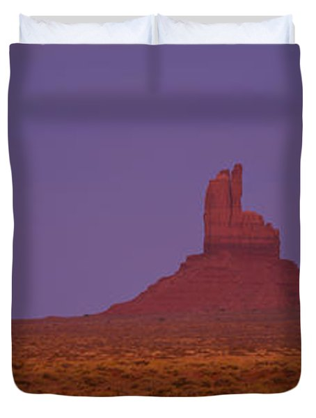 Moon Shining Over Rock Formations Duvet Cover by Panoramic Images