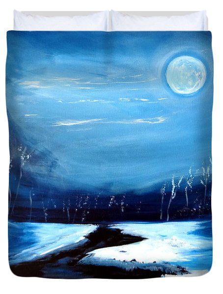 Moon Snow Trees River Winter Duvet Cover