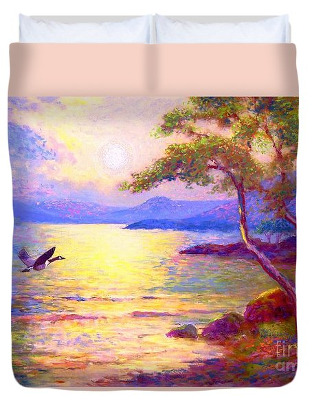 Duvet Cover featuring the painting  Wild Goose, Moon Song by Jane Small