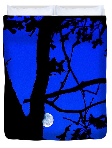Duvet Cover featuring the photograph Moon Through Trees 2 by Janette Boyd