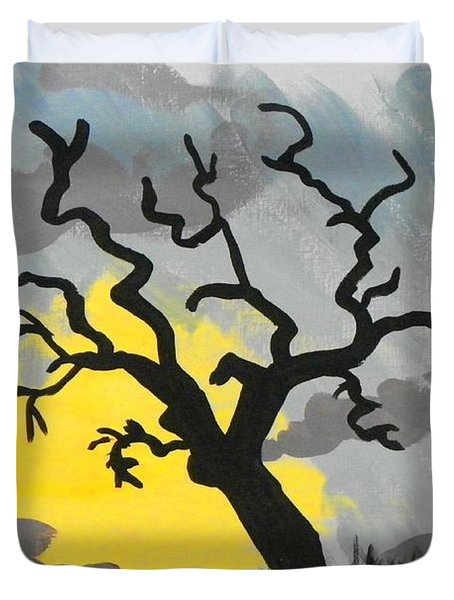 Duvet Cover featuring the painting Moon Tree by Marisela Mungia