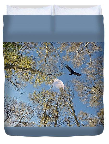 Duvet Cover featuring the photograph Moon Trees by Savannah Gibbs