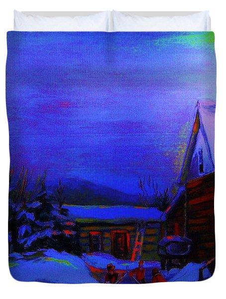 Moonglow On Powder Duvet Cover by Carole Spandau