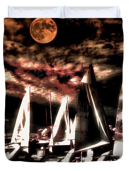 Duvet Cover featuring the tapestry - textile Moonlight Cruise by Robert McCubbin