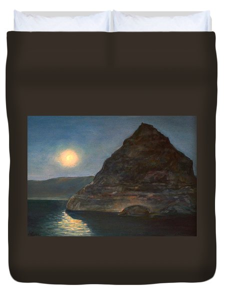 Duvet Cover featuring the painting Moonlight On Pyramid Lake by Donna Tucker