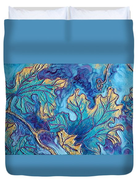 Duvet Cover featuring the painting Moonlight On The Vine by Sandi Whetzel