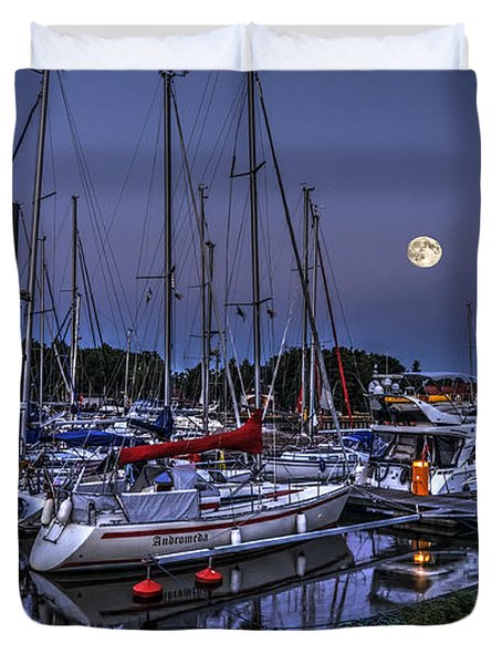 Moonlight Over Yacht Marina In Leba In Poland Duvet Cover by Julis Simo