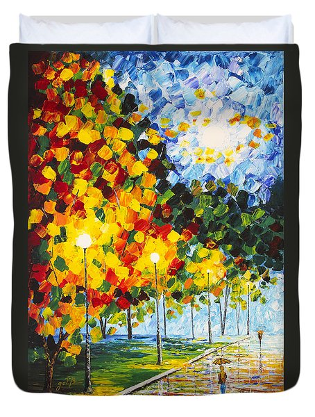 Duvet Cover featuring the painting Moonlight Raindrops Original Acrylic Palette Knife Painting by Georgeta Blanaru