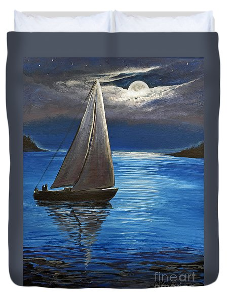 Moonlight Sailing Duvet Cover by Patricia L Davidson