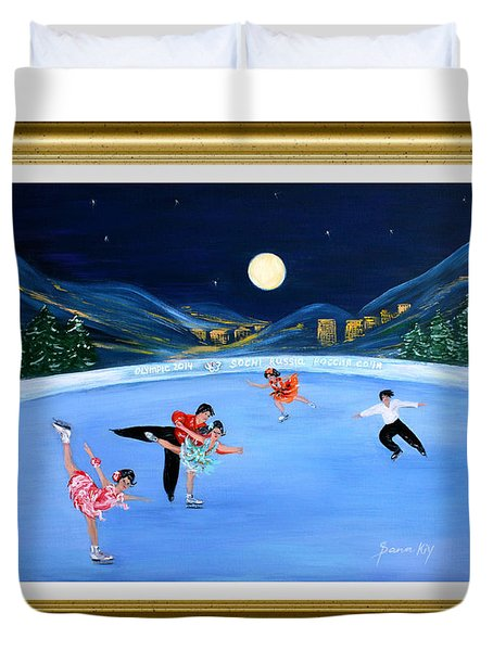 Moonlight Skating. Inspirations Collection. Card Duvet Cover