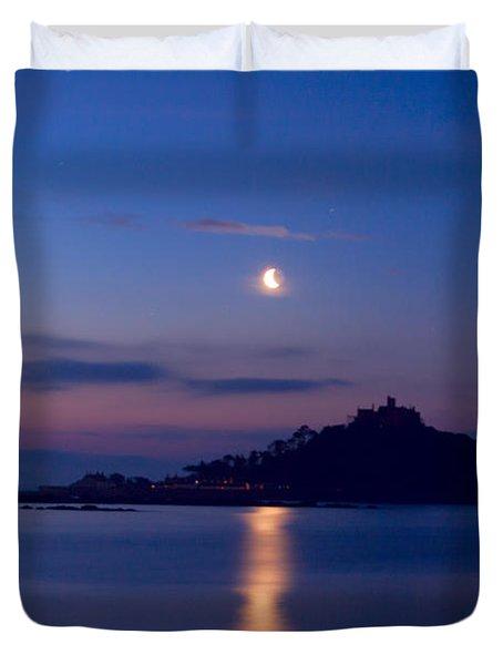 Moonlight St Michael's Mount Duvet Cover