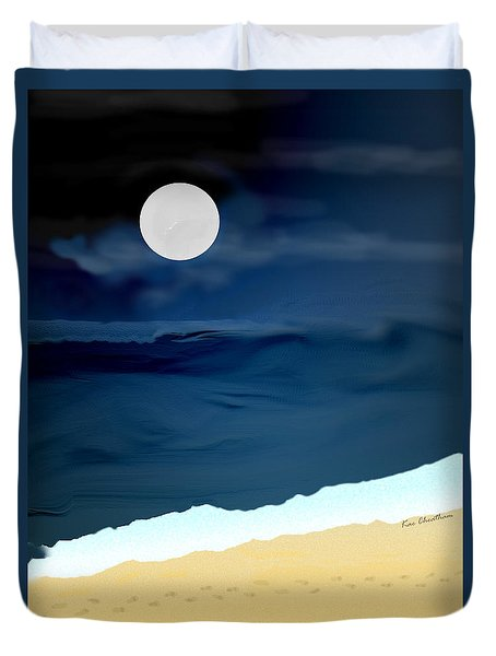 Duvet Cover featuring the digital art Moonlight Walk At Low Tide by Kae Cheatham
