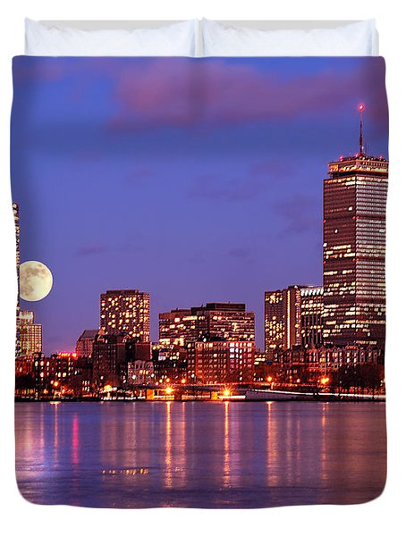 Duvet Cover featuring the photograph Moonlit Boston On The Charles by Mitchell R Grosky