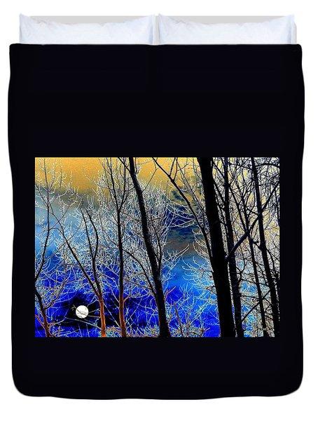 Moonlit Frosty Limbs Duvet Cover