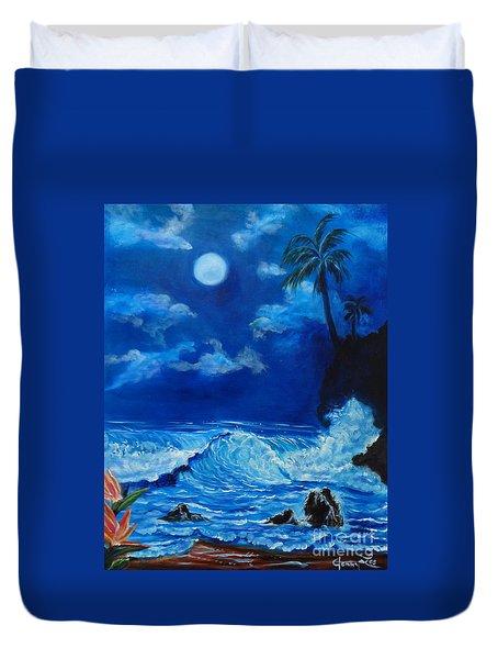 Moonlit Hawaiian Night Duvet Cover by Jenny Lee