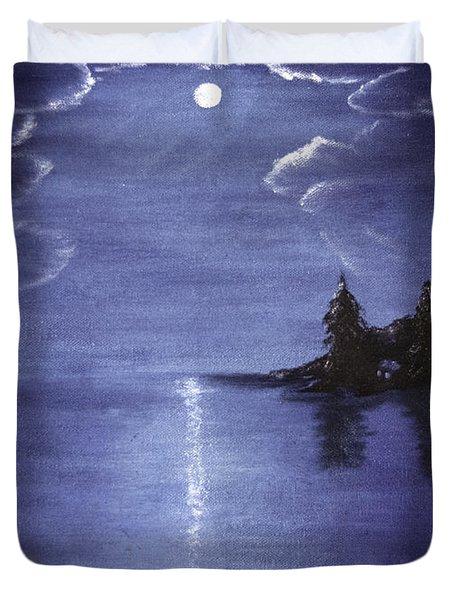 Moonlit Lake Duvet Cover by Judy Hall-Folde