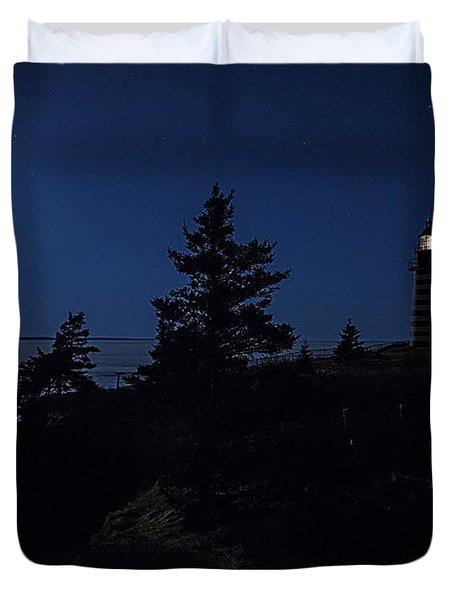 Duvet Cover featuring the photograph Moonlit Panorama West Quoddy Head Lighthouse by Marty Saccone