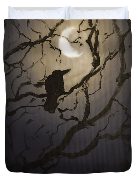 Moonlit Perch Duvet Cover