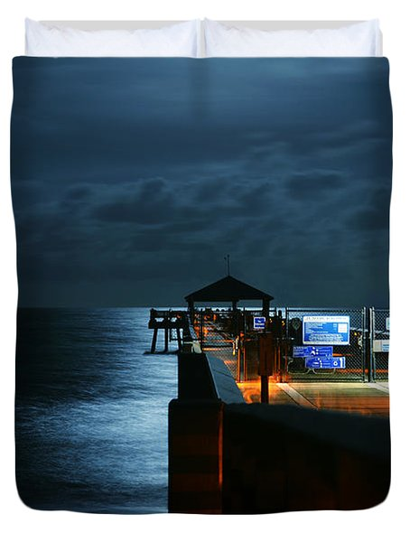 Moonlit Pier Duvet Cover