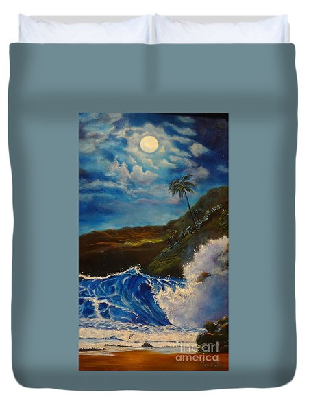 Duvet Cover featuring the painting Moonlit Wave 11 by Jenny Lee