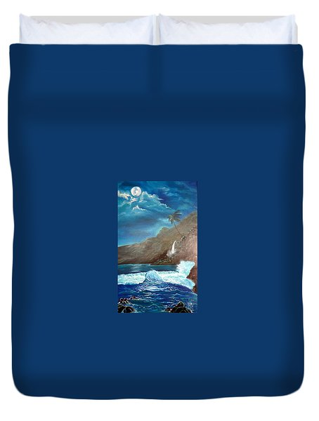 Duvet Cover featuring the painting Moonlit Wave by Jenny Lee