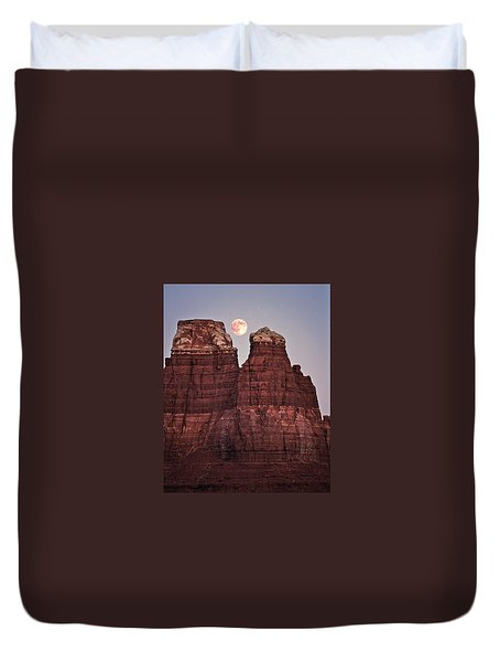 Duvet Cover featuring the photograph Moonrise In Utah by Christopher McKenzie
