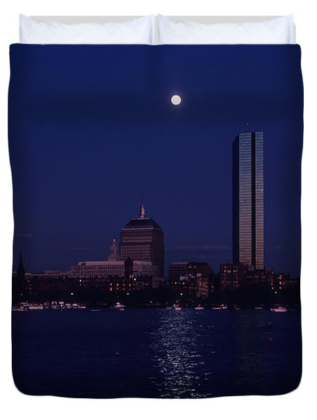 Moonrise Over Boston Skyline July 1982 Duvet Cover by Thomas Marchessault