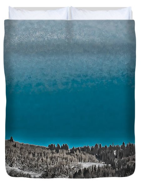 Duvet Cover featuring the photograph Moonrise Over The Mountain by Don Schwartz