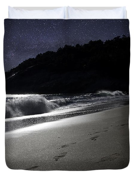 Duvet Cover featuring the photograph Moonshine Beach by Brent L Ander