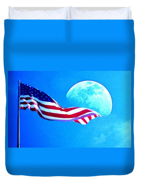 Moonshine On The American Flag Duvet Cover