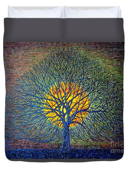 Duvet Cover featuring the painting Moonshine by Viktor Lazarev