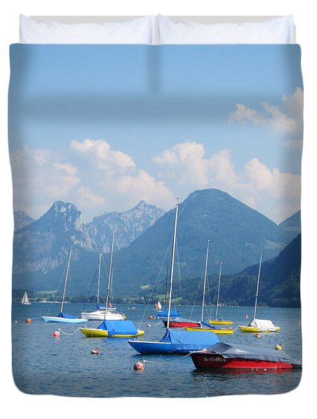 Duvet Cover featuring the photograph Moored Boats by Pema Hou