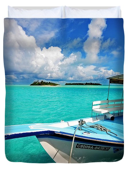Moored Dhoni At Sun Island. Maldives Duvet Cover