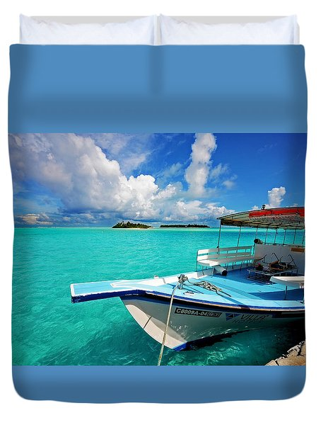 Moored Dhoni At Sun Island. Maldives Duvet Cover by Jenny Rainbow