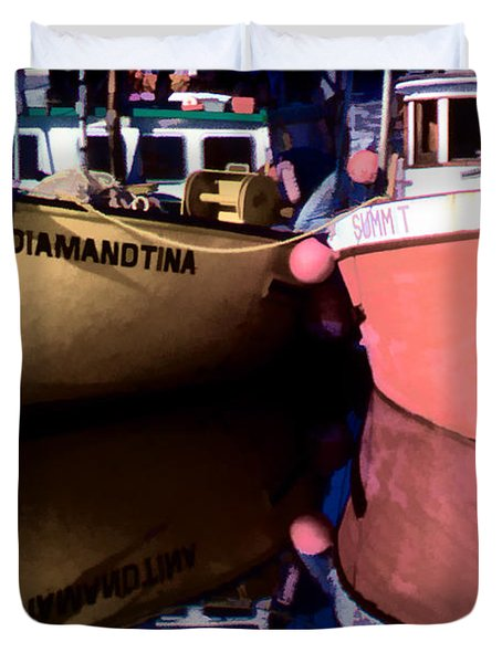 Moored Fishing Boats Duvet Cover