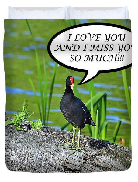 Moorhen Miss You Card Duvet Cover by Al Powell Photography USA