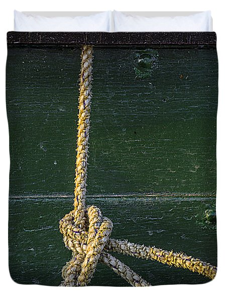 Duvet Cover featuring the photograph Mooring Hitch by Marty Saccone